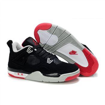 buy popular bd4ef 16d5b Children Air Jordan 4 Retro Black White Red