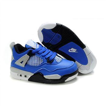 premium selection c71b5 c7c6e Children Air Jordan 4 Retro Blue Black Silver White