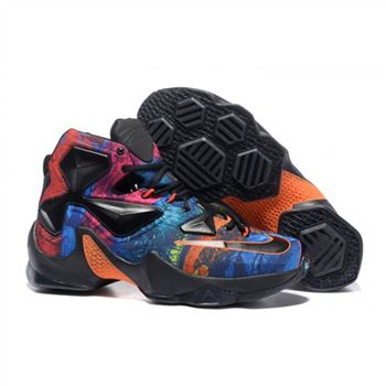 Mens Nike Lebron James 13 Black Orange Blue Rose