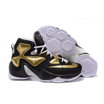 Mens Nike Lebron James 13 Black White Gold