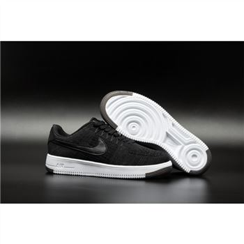 Mens Nike Flyknit Air Force 1 Low Black Shoes