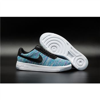Mens Nike Flyknit Air Force 1 Low Blue Purple Shoes