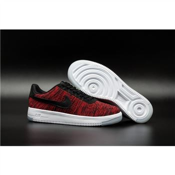Mens Nike Flyknit Air Force 1 Low Claret Black Shoes