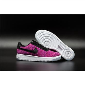 Mens Nike Flyknit Air Force 1 Low Magenta Black Shoes