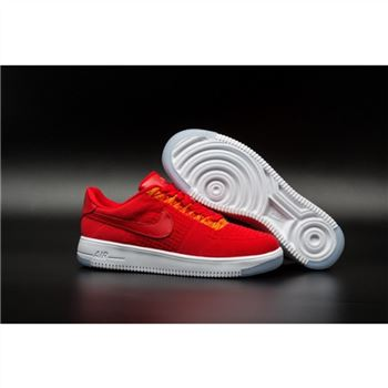 Mens Nike Flyknit Air Force 1 Low Red Shoes