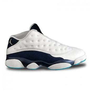 Authentic 310810-107 Air Jordan 13 Retro Low White/Metallic Silver-Midnight Navy-Turquoise Blue