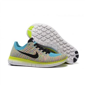 separation shoes 5553c 7da0e Nike Free Flyknit 5.0 Womens Blue Fluorescent Black Shoes